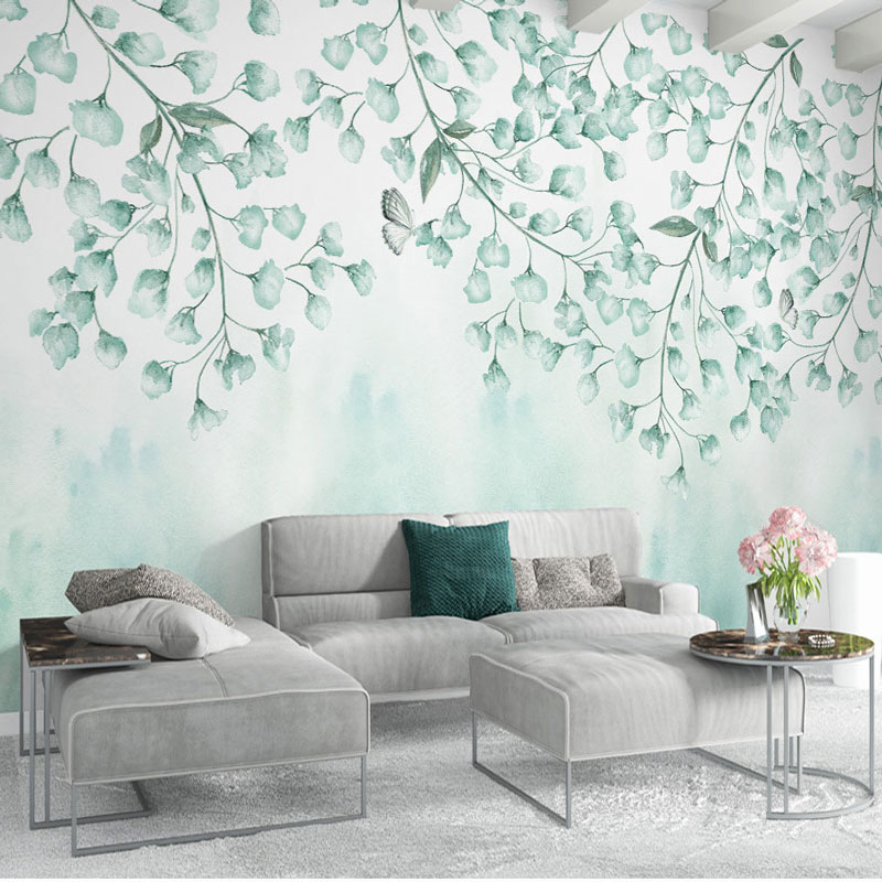 Home Decor Wall Papers 3D Green Leaves Painting Photo Wall Paper Murals Living Room Bedroom Self