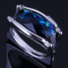 Amazing Oval Blue Cubic Zirconia White CZ 925 Sterling Silver Ring For Women V0659 alluring oval blue cubic zirconia 925 sterling silver ring for women v0419