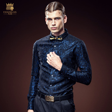 free shipping new men's male fashion casual autumn lace shirt Slim iron Obscure young Glossy long-sleeved shirt 2106 FanZhuan