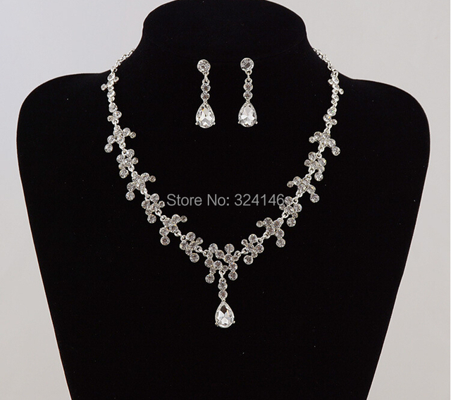 Cheap!!!!White water drop crystal wedding bridal jewelry sets fashion silver wedding necklace set jewelry accessories wholesale