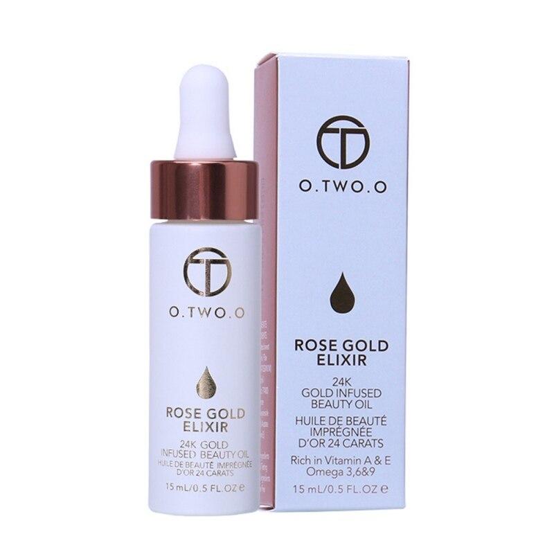 O.TWO.O 24k Rose Gold Elixir Skin Makeup Oil For Face Essential Oil Before Primer Foundation Moisturizing Oil Anti-aging