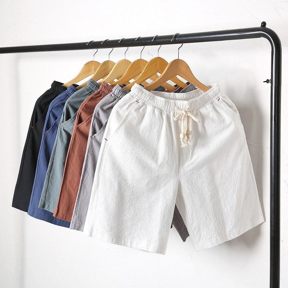 Men's Linen Cotton Shorts Men Summer Knee Length Trousers Male Bermuda Casual Board Shorts Man Solid Elastic Waist Shorts PT-339