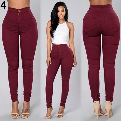 c5a9d30ef402 Women Pencil Stretch Casual Denim Skinny Jeans Pants High Waist Trousers-in  Pants   Capris from Women s Clothing on Aliexpress.com