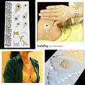OPHIR 2PCS Non-toxic Metallic Tattoos Gold and Silver Necklace Tattoos Stickers for Woman Temporary Tattoos Makeup _MT001+MT002