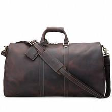 New Crazy horse genuine leather Men's Travel Bags Quality Man Travel Duffle Large Capacity Traveling Luggage Duffle Bag LI-1848
