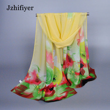 New Arrival Apparel Accessories Flower Printed Scarf 160*50cm Laides Polyester Summer Silk Chiffon Shawls