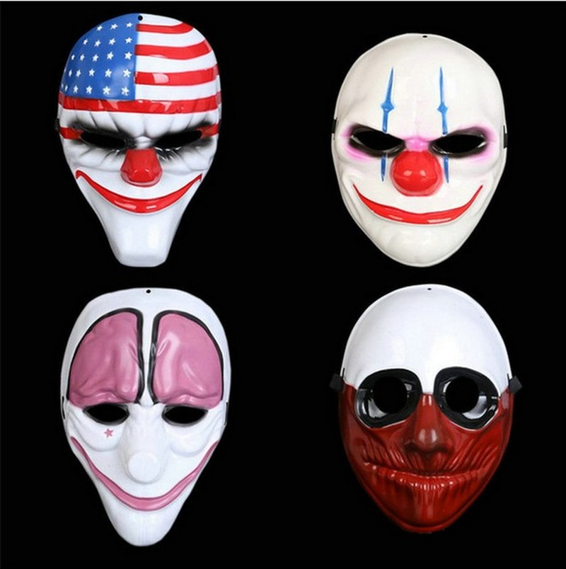 5pcs lot Halloween Horror Mask Payday 2 Mask Newest Topic Game Series Plastic Old Head Clown Flag Red Head Masquerade Supplies in Boys Costume Accessories from Novelty Special Use