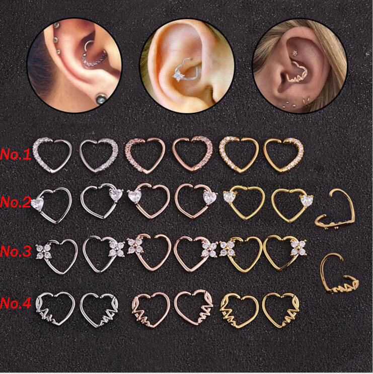 Labret-Rings Body-Jewelry Heart-Shape Ear-Cartilage Daith 1PC Copper title=