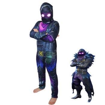 Raven Cosplay Costume Kids Streetwear Costumes Boy Jumpsuits FortnitedCosplay Children Halloween Skull Trooper