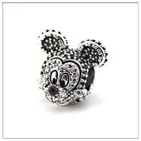 Fits Pandora Bracelet &Necklace Sparkling Mickey Portriat Silver Beads Original 925 Sterling Silver Charms DIY Wholesale S3787