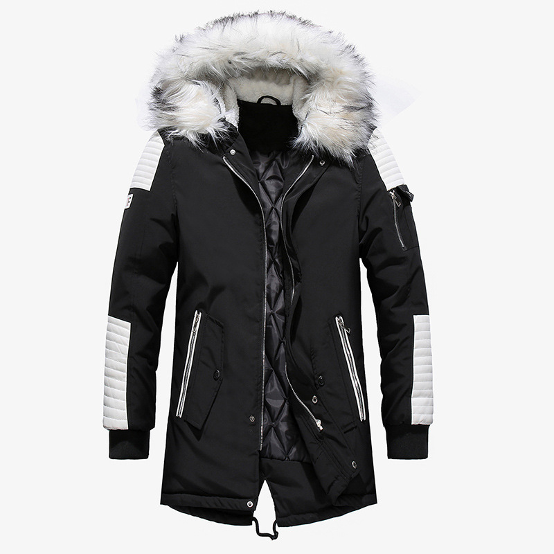 High Quality New Winter Jacket Men Thicken Warm   Parkas   Casual Long Outwear Hooded Collar Jackets and Coats Men veste homme