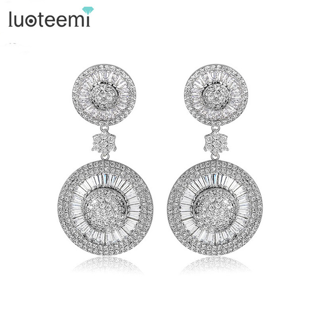 LUOTEEMI 2016 Nova Luxury Noble Dangle Brilhante CZ Cristal Rodada Dupla Brincos Declaração de Brincos para As Mulheres da Jóia Do Casamento