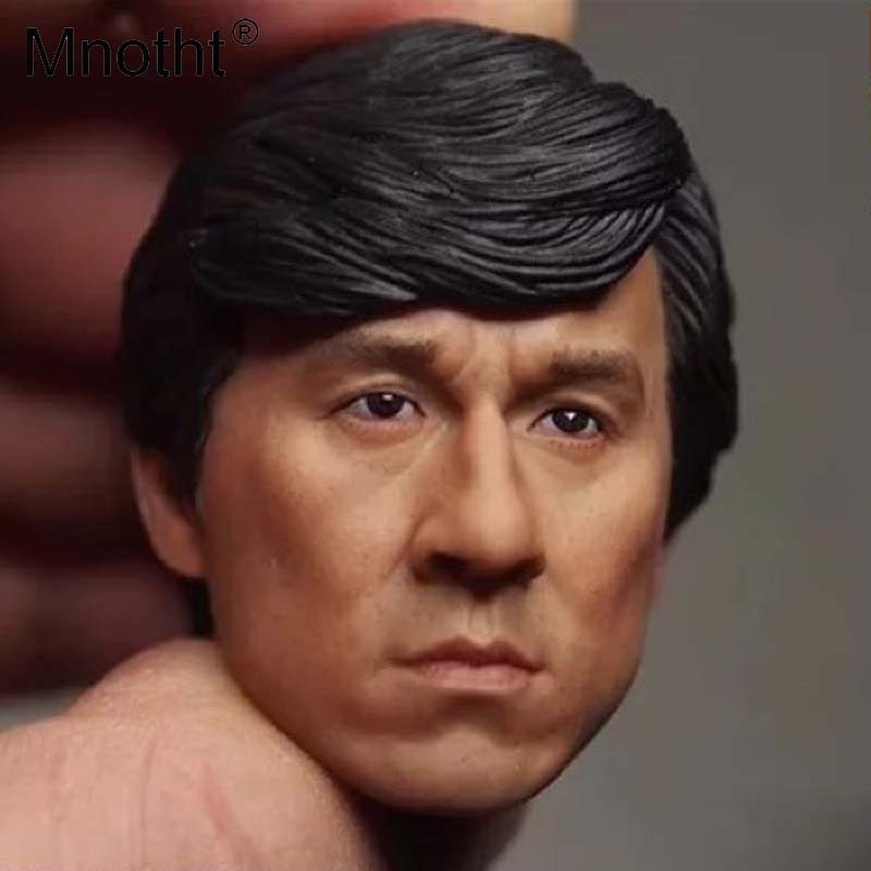 Mnotht Jackie Chan Head Carving Model Asian KungFu Super Star Male Soldier Head Sculpt Toys For