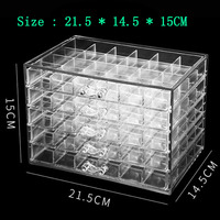 2019NEW 120 Grids Nail Decoration Sequence Organize Box Transparent Empty Nail Art isplay Holder Case Manicure Tool
