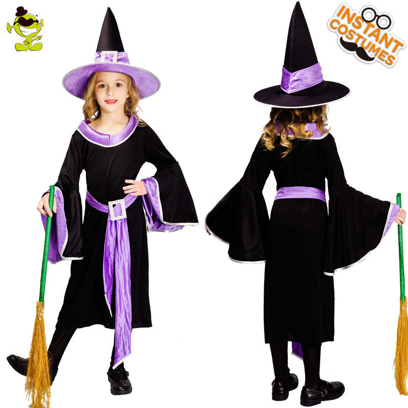 Girls Incantasia The Glamour Witch Costume Kids Black And Purple Dress With Hat Clothes For Halloween Cosplay Party Aliexpress