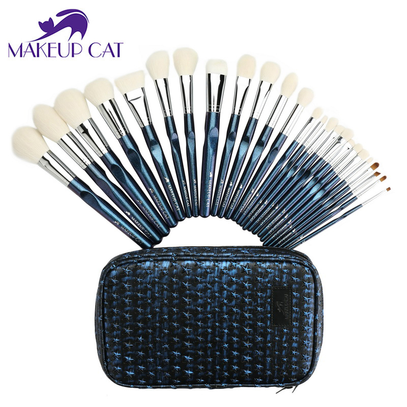 Makeup Cat 25Pcs Makeup Stars Brushes Set Cosmetics Soft Goat+Synthetic Hair With Make Up Brush Tool Kit Maquiagem Set msq 15pcs professional makeup brushes set foundation fiber goat hair make up brush kit with pu leather case makeup beauty tool
