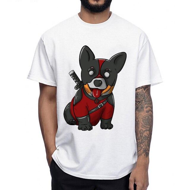 35bb4342 Deadpool corgi T-Shirt humor men hipster cool T Shirt summer soft casual  man Tops funny Corgi dog design Anime Tee
