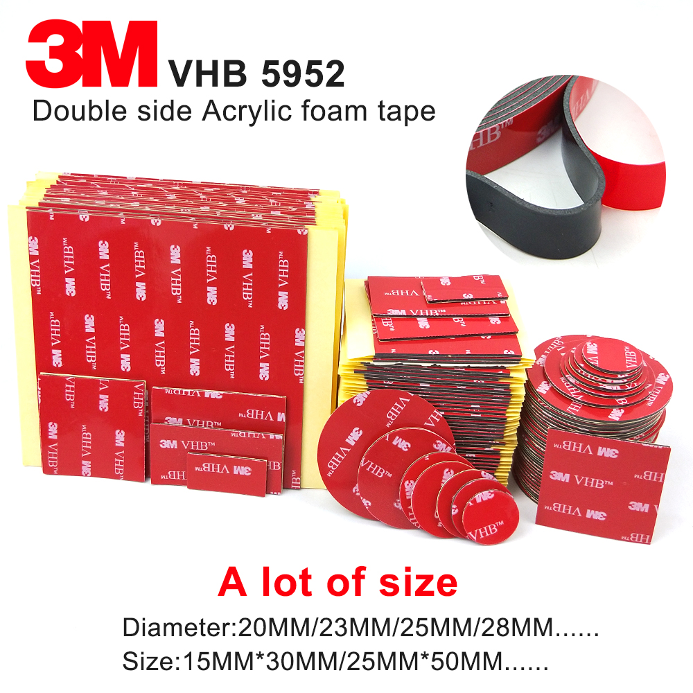 3M 5952 High Performance Indoor Outdoor Use Black 3M VHB Tape Waterproof Acrylic Foam Double Side Tape,die Cut Any Size