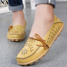 236450da551 NAUSK New Arrival Women Flats Shoes Women loafers Ladies Slip on Flats 9  color Genuine Leather Driving Shoes Women Shoes