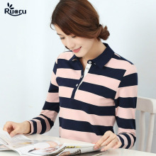 Ruoru M - 4XL Large Size Striped Female Polo Casual Neck Women Autumn Winter Fashion Femme Plaid
