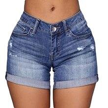 40% Y6023Z Мода Тощий Джинсовые Шорты Женщина Сексуальная Разорвал Отверстие Случайные Высокой Талией Джинсы Плюс Размер Летние Прямые Шорты