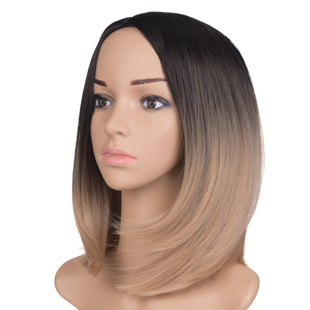 160g sintético curto cabelo reto ombre preto