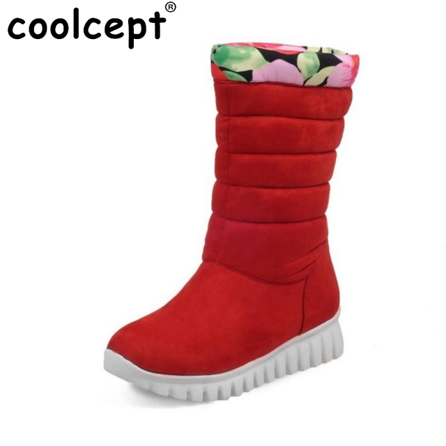 Size 29-46 New Arrival Russia Women Flat Mid Calf Boots Fashion Woman Fur Warm Winter Bota Feminine Footwear Shoes Woman