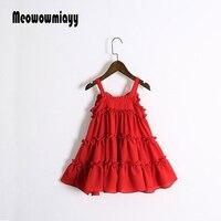 בנות להתלבש roupas infantis menina 2017 ילדים בגדי נערת אדום שיפון אונליין נסיכת קלע שמלת החוף בקיץ