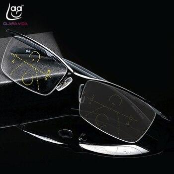 02718fabf4 Clara Vida = gris fotocrómico para la inteligencia gafas de lectura  multifocales progresivo Bifocal añadir + 75 a + 3,5 ceja de titanio