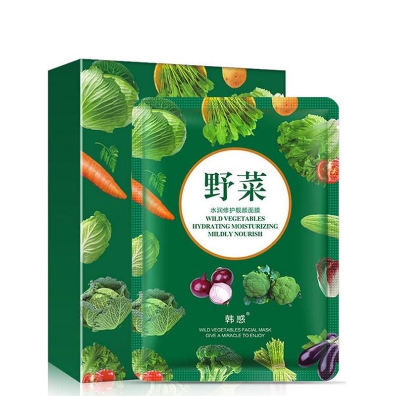 10Pcs Plant Enzyme Mask Beauty Essence Mask Wild Fruit Vegetables Light Skin Moisture Face Mask Shrink Pores Skin Care