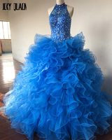 Joky Quaon Custom Made Vestidos De 15 Shiny Beading Crystal Bodice Royal Blue Quinceanera Dress For
