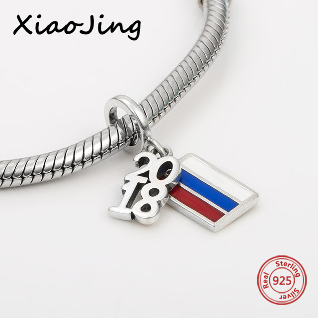 653aec6a0735f US $7.94 31% OFF|Fit authentic European bracelet 2018 Russia World Cup with  colorful enamel charms pendant beads silver 925 jewelry making gifts-in ...