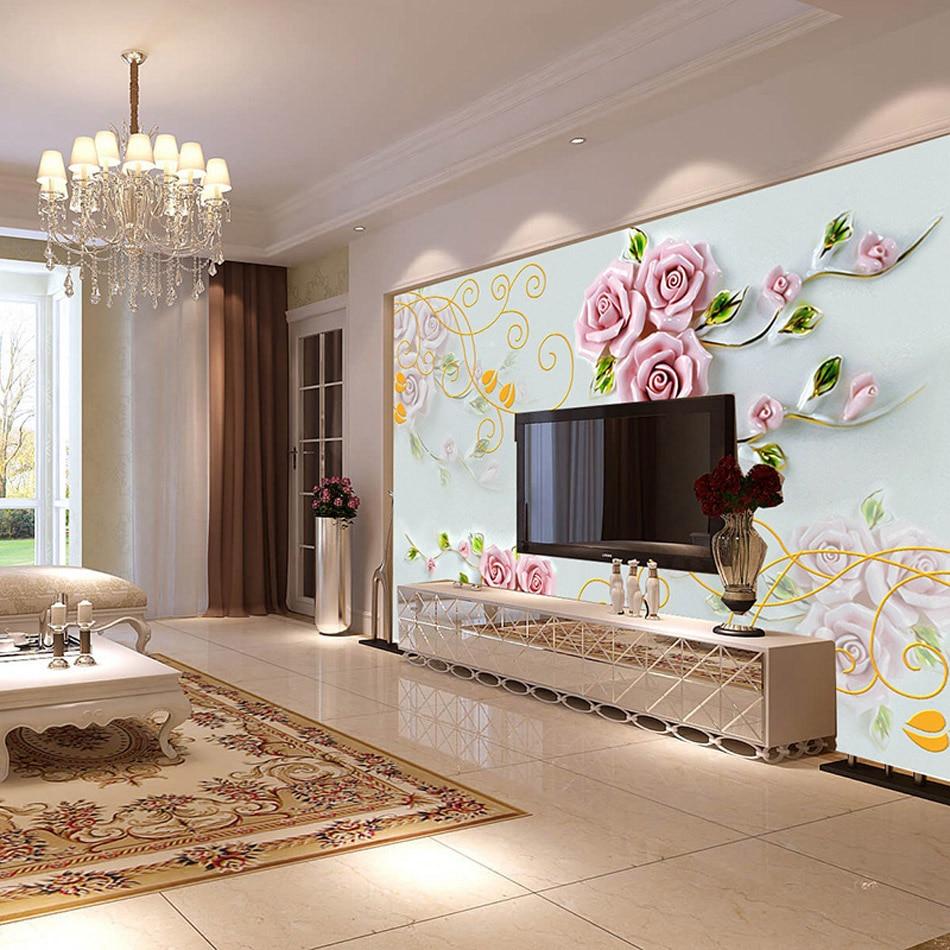 Aliexpresscom Buy ShineHome Rose Flower Large Custom Wallpapers