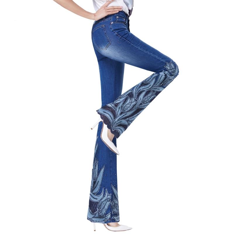 Printemps Dentelle Broderie Pantalon Perles Denim Jeans Boot Évasée Cut Femelle Luxe De Femmes Cloche Tulipes Brodé Bas Bleu CP7CUa