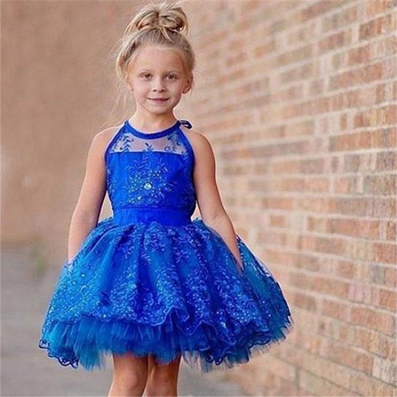 Cute royal Blue Short   Flower     Girls     Dresses   For Wedding Ball Gowns Lace Halter Keyhole Back Ruched Little   Girls   Prom Kids Formal