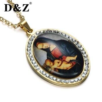d144448e10b1 D   Z Catholic religiosa Virgen María collar oro Color acero inoxidable  María colgantes collares para joyería Católica