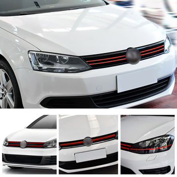 LEEPEE Auto Decoration Reflective Stickers Car Styling Front Hood Grille Decals For VW Golf 6 7 Tiguan Car Strip Sticker image
