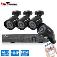 Wetrans AHD Camera CCTV System HD 1080P 4CH Surveillance Outdoor Waterproof P2P 20m Night Vision Home
