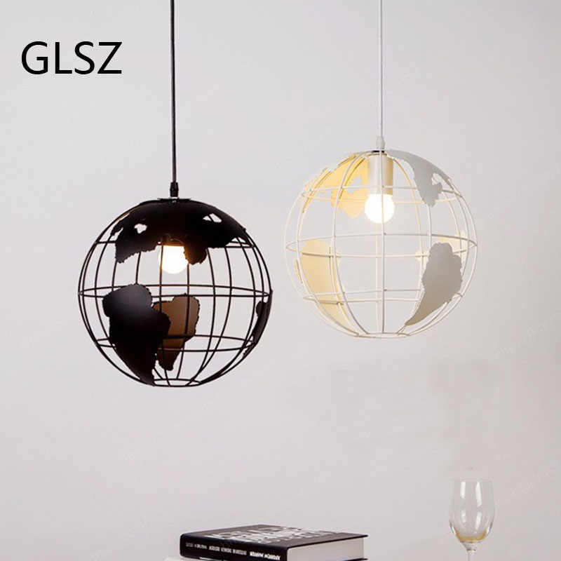 GLSZ LED Globe Earth Pendant Lights Iron art Black/White Lights For Cafe Living Room Bar Office Hanging Ceiling Lamp Bedroom