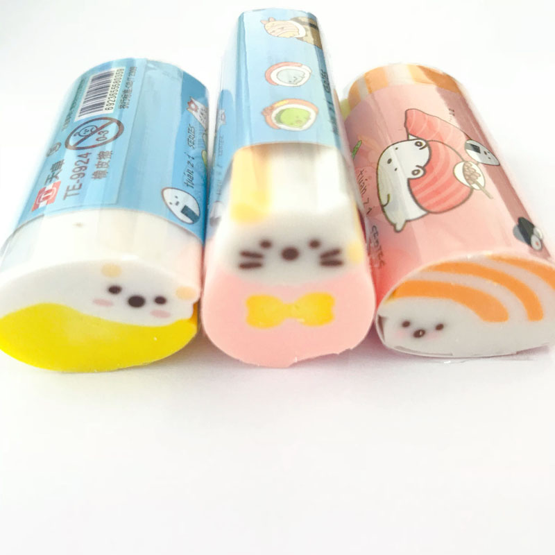 1X Kawaii Sushi Food Family Cutable Eraser Mini School Supply Student Stationery Writing Drawing Correction Rubber Kids Gift