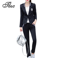 TLZC 2016 New Style Women Casual Suits Size M 4XL Printing Design Lady Clothing Sets V