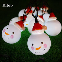 Kitop 3.5M 5M 6.5M Solar Powered Led String Light Snowman Waterproof Decoration  Outdoor/Indoor For Christmas Tree,Party,Patio