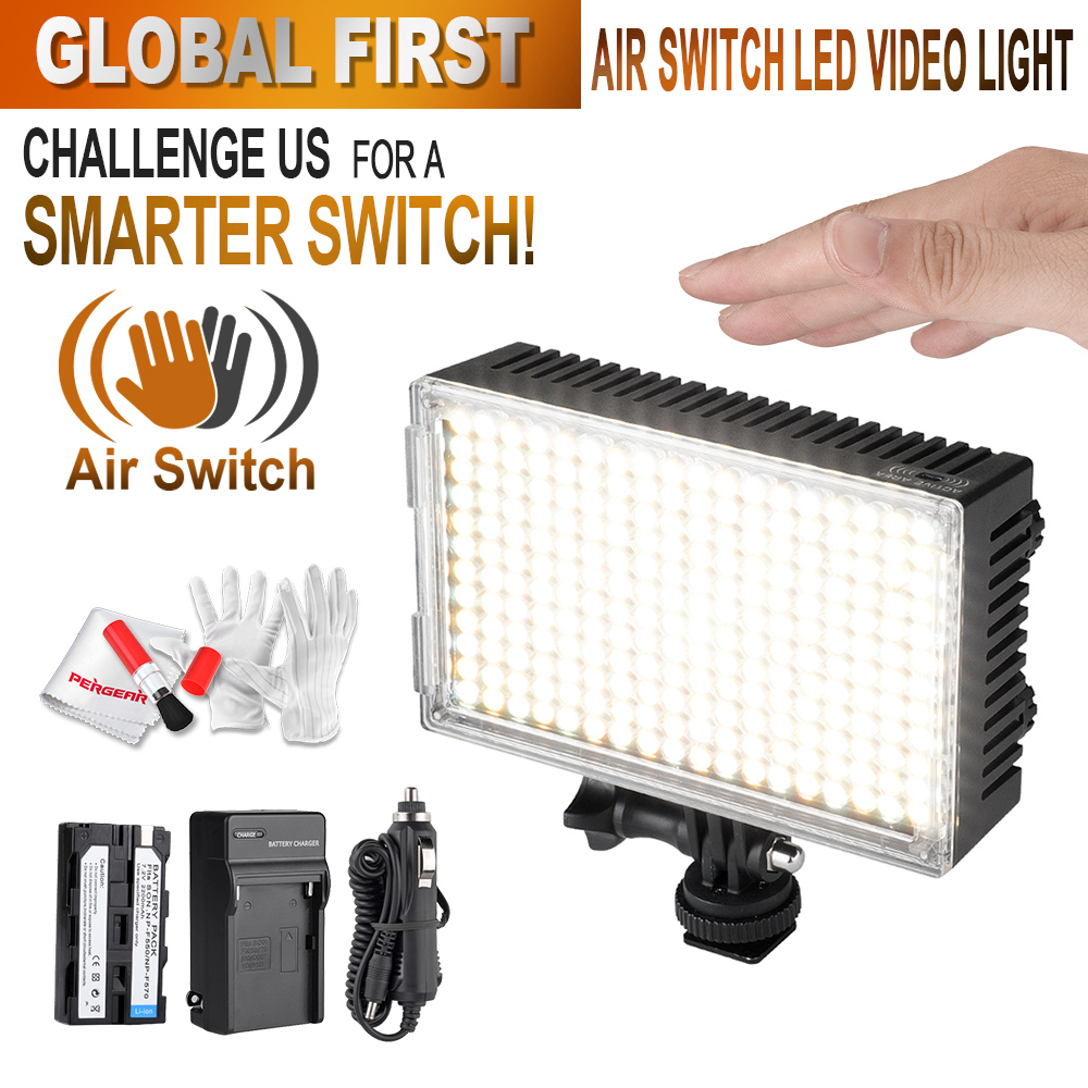 Prix pour Pergear 216 LED Vidéo Lumière Air Commutateur Capteur de Lumière Sur caméra Photo Lumière Dimmable 3200 K-5500 K Luz LED DSLR + Batterie + chargeur