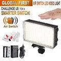 Pergear 216 led luz de vídeo interruptor do ar sensor de luz em câmera Fotográfica Luz Regulável 3200 K-5500 K Luz LED DSLR + Bateria + carregador