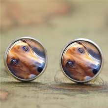 10pairs/lot Daschund earring,a small dog that has very short legs, a long body, and long ears.earring print photo earring(China)