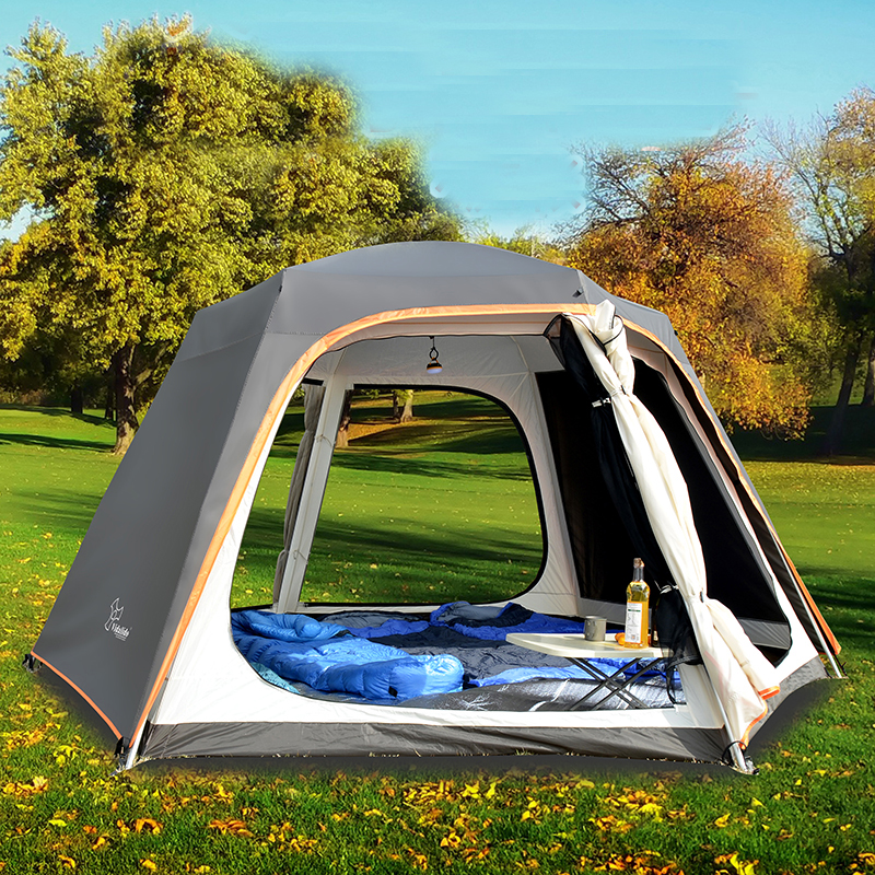 Outdoor automatic tent 5 8 persons defense rain thickening hexagonal aluminum rod camping big awning happy