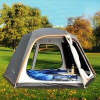 야외 자동 텐트 5-8 명 방위 비 두꺼운 육각 알루미늄 막대 캠핑 큰 천막 행복한 가족 텐트
