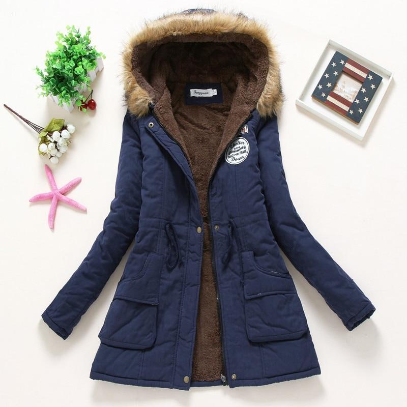2019 New Sell like hot cakes Winter Solid Cotton Fleece Hooded   Parkas   Coat Women Casual Plus Size Slim Zipper DrawString   Parkas