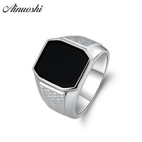 AINOUSHI 925 Sterling Silver Men Wedding Engagement Ring Black Solitiare Rectangle Male Silver Birthday Party Girl Ring Jewelry