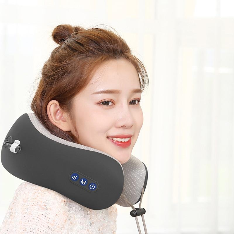 Charging U Shape Kneading Neck Massager Vibrating Neck Massage Pillow Cervical Treatment Magnet Therapy Pulse Travel